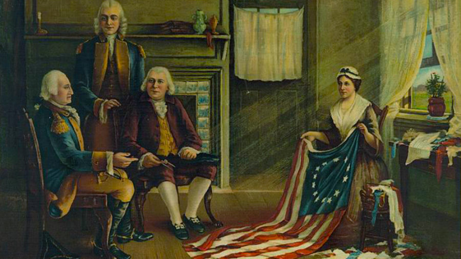 An art piece shows three men, Robert Morris, George Washington, and George Ross. Two are sitting in chairs and one stands between them inside a house. Betsy Ross, sits across from them, holding a flag.
