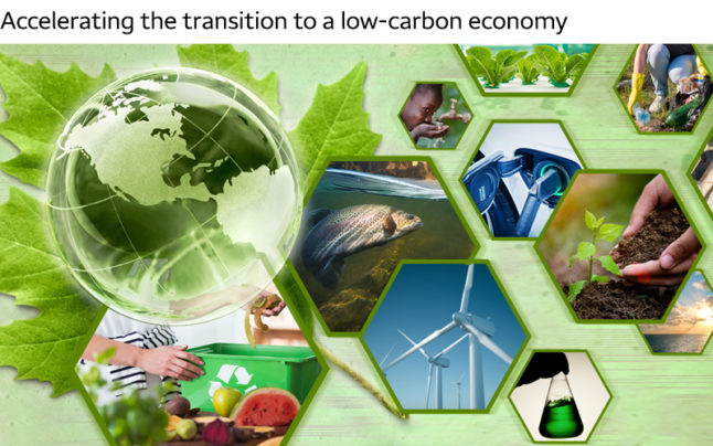 Text — Accelerating the transition to a low-carbon economy — is above a collage of images against a green background include a green globe, a recycling bin, windmill farms, drinking water, and plants.
