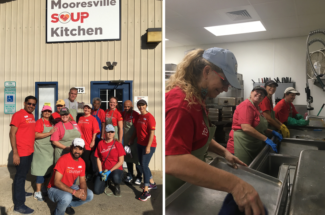 "Two images are side by side. One shows a group of people in red shirts posing outside of a building with a sign that says ""Mooresville Soup Kitchen."" The other shows four people washing dishes."