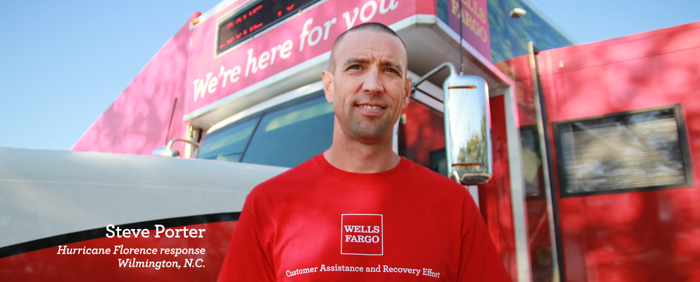 Photo of Steve Porter, leader of the Wells Fargo Mobile Response Unit location team in Wilmington, North Carolina.