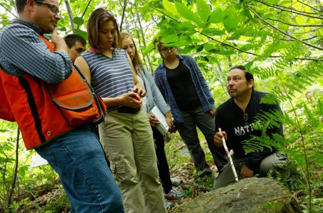 Sharing Wabanaki Native American cultural knowledge about forestry with the interns of the WaYS program.