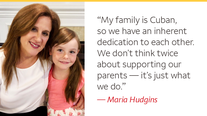 "Photo of Maria Hudgins and her child with the quote: ""My family is Cuban, so we have an inherent dedication to each other. We don't think twice about supporting our parents — it's just what we do."""