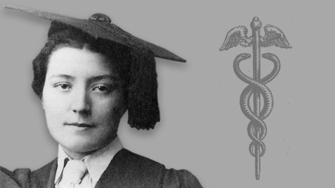 Black-and-white portrait of young Florence Scott in graduation cap and gown is paired with a medical symbol.