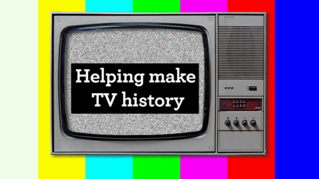 A television has a static background with a block of text that says: Helping make TV history. Behind the television are yellow, light blue, green, purple, red, and dark blue vertical bars.