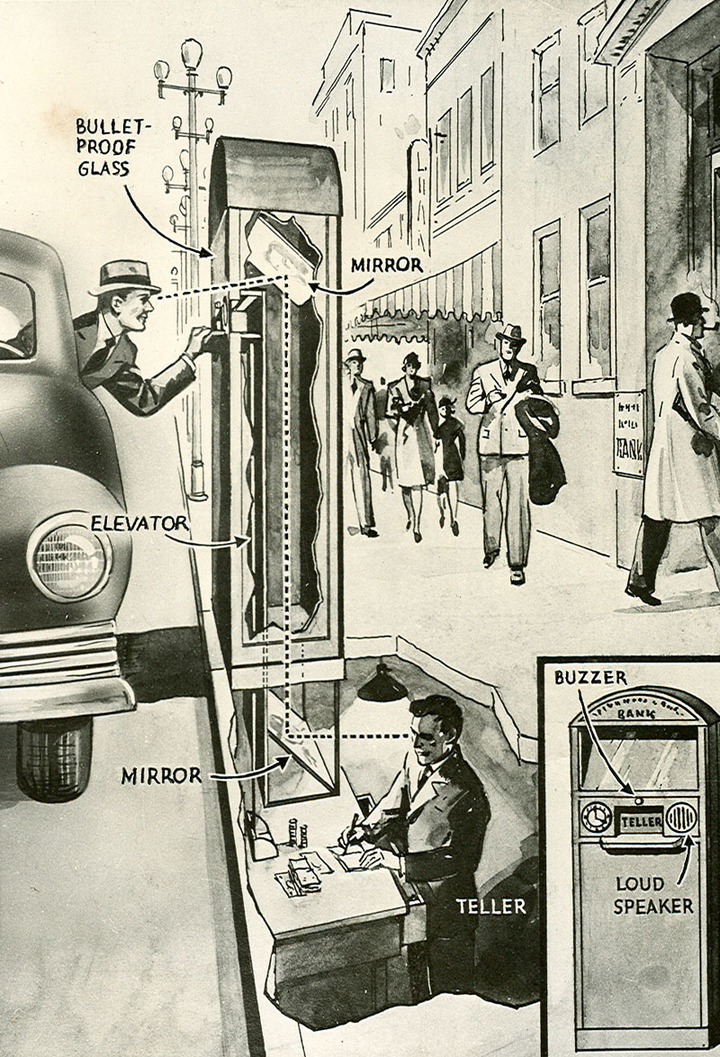 A black-and-white illustration shows a city scene where a man leaning out of a car to put a card in a window. Another man labeled as a teller stands below ground, writing. Parts of the teller machine are labeled.