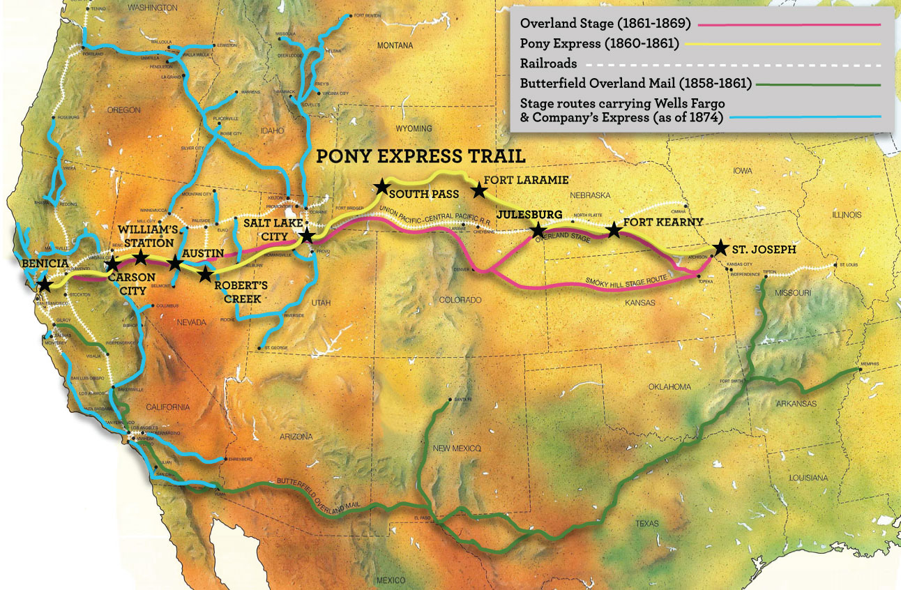 A map of the Western United States shows routes for Overland Stage, 1861-1869; Pony Express, 1860-1861; Railroads, Butterfield Overland Mail, 1858-1861; and Stage routes carrying Wells Fargo & Company's Express, as of 1874.
