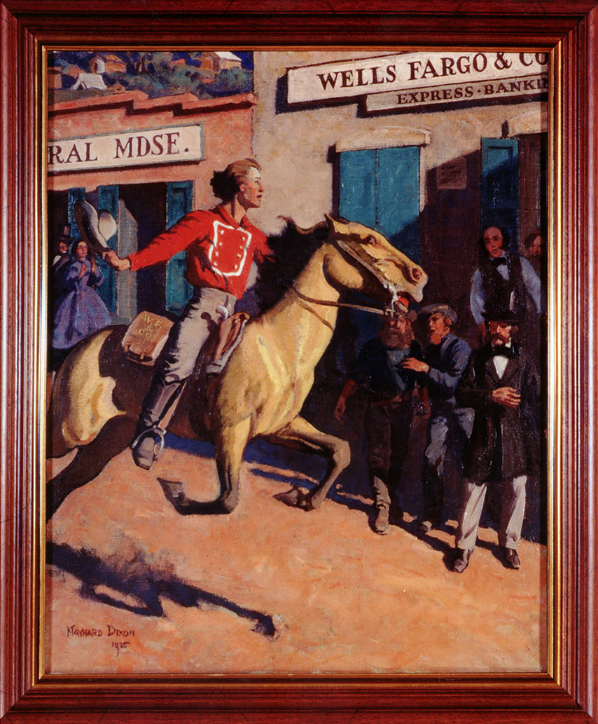 A colored painting shows a man on a horse riding beside two buildings while several people outside the buildings look on. One building shows: RAL MDSE., and the other shows: WELLS FARGO & CO EXPRESS BANK.