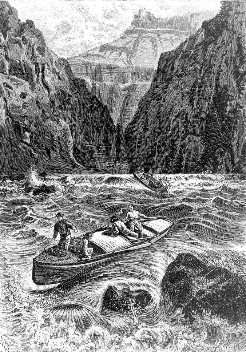 A black and white illustration shows men in two boats in the middle of running water. Around them are high canyon walls.