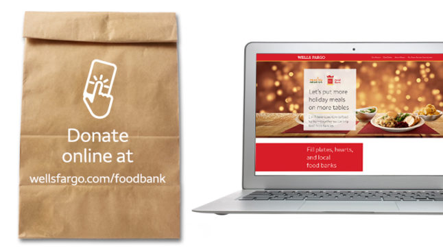 """The text on the lunch bag at left reads, """"Donate online at wellsfargo.com/foodbank."""" The screen of the laptop at right shows nonperishable food and """"Let's help more families share holiday meals."""""""