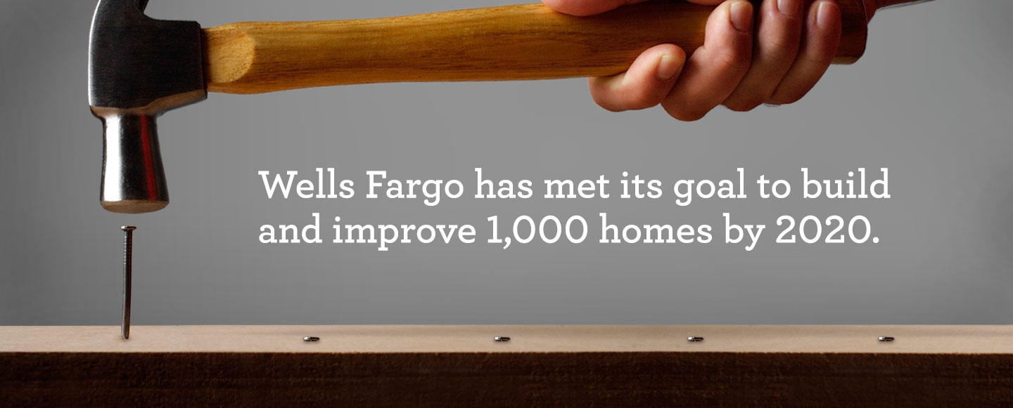 Infographic saying that Wells Fargo has met its goal to build and improve 1,000 homes by 2020.