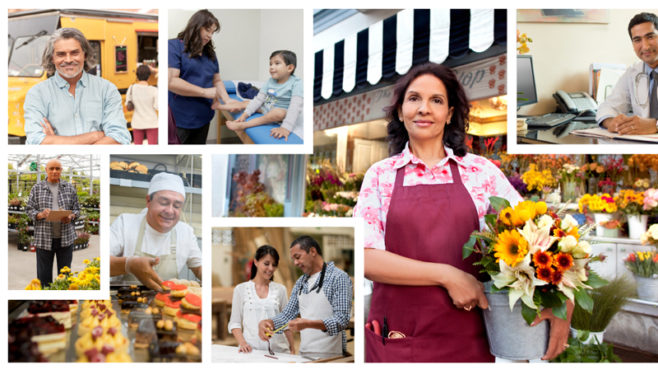 A collage of images shows a man in front of a truck, a female doctor examining a child, a woman holding flowers, a man in a lab coat at a desk, two men in a factory, a woman holding a wine glass, people preparing food, and a man in a greenhouse.