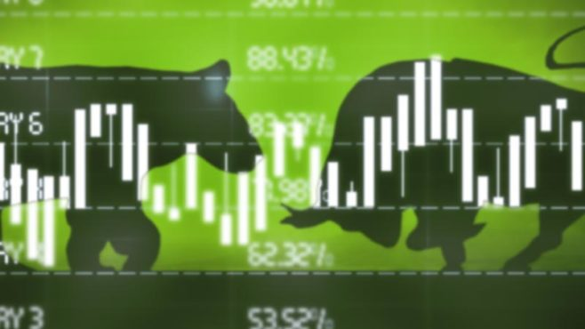 Stock market data with silhouette of bull and bear clashing in background