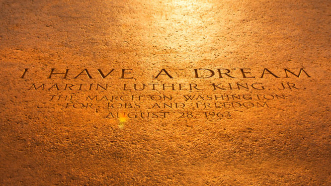 Inscription on the steps of the Lincoln Memorial commemorating Martin Luther King Jr.'s