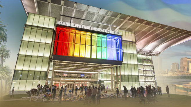 Dr. Phillips Center for the Performing Arts lit in PRIDE colors after the Pulse nightclub attack.