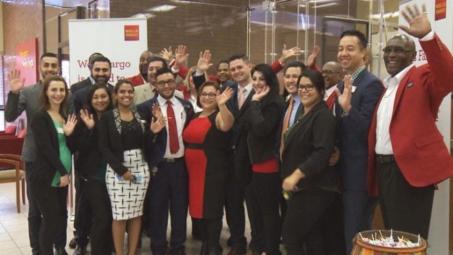 New Directions Veterans Choir handed out roses and sang for customers at a Wells Fargo banking store