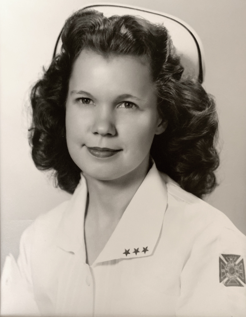 Black and white photo of Helen Clement with the U.S. Cadet Nurse Corps.