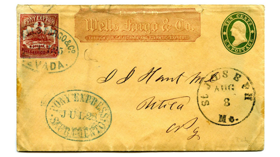 An aged envelope has a red and white Pony Express stamp on the top left, Wells Fargo & Co. at the top middle, and at the top right a green and white stamp reading: Ten Cents, U.S. Postage. J. J. Hunt and Utica are handwritten in the middle.