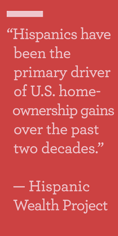Red background with the words Hispanics have been the primary driver of U.S. homeownership gamins over the past two decades. — Hispanic Wealth Project