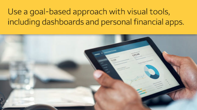 """""""Use a goal-based approach with visual tools, including dashboards and personal financial apps,"""" text in yellow bar above image of hands holding tablet with financial data."""