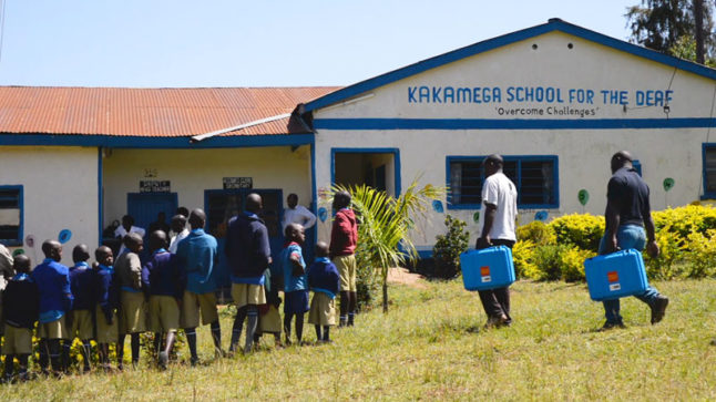 Solar Suitcases arrive at the Kakamega School for the Deaf in Kakamega, Kenya.