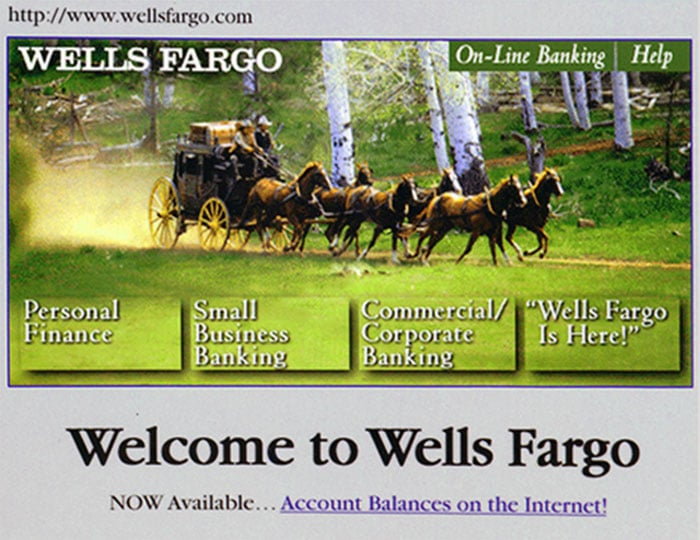 Home page of Wells Fargo's first website