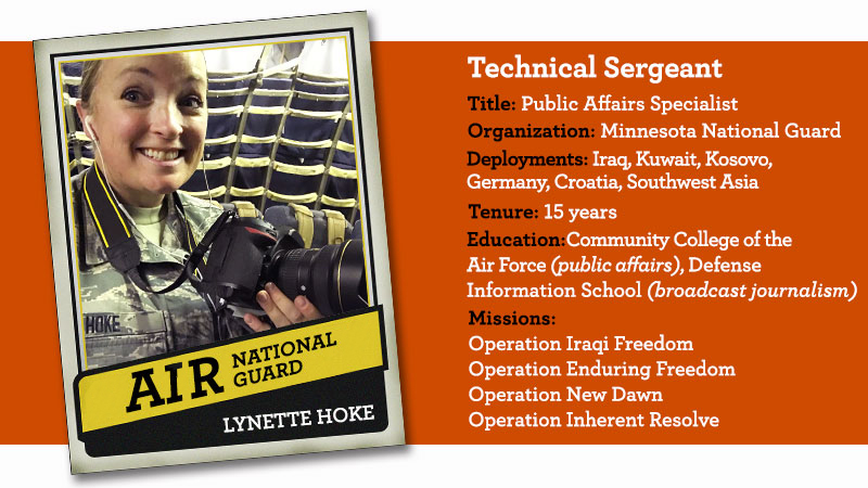 An image of Lynette Hoke in uniform with information about her life as a technical sergeant in the Minnesota Air National Guard. It includes her title, organization, deployments, tenure education, and missions.
