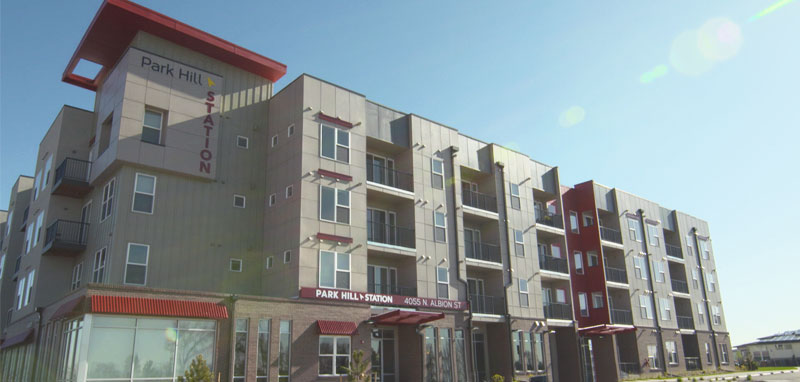 Park Hill Station in Denver combines affordable housing with easy access to public transit.