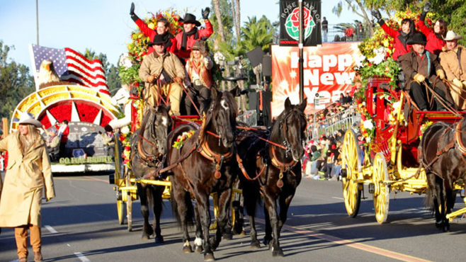 Story Type Indicator - video. Wells Fargo stagecoaches in the Rose Parade
